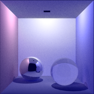 Color Cornell Box: Spheres (with Point Light) Rays Per Pixel: 100 Max Ray Depth: 10